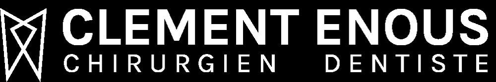 Logo blanc classique du cabinet de chirurgie dentaire du Dr Clément Enous, dentiste à Biarritz